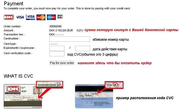 Ввод реквизитов при оплате в интернет-магазине
